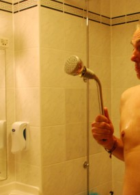 When you break the hotel shower, there's only one thing to do - make like you're a Dalek